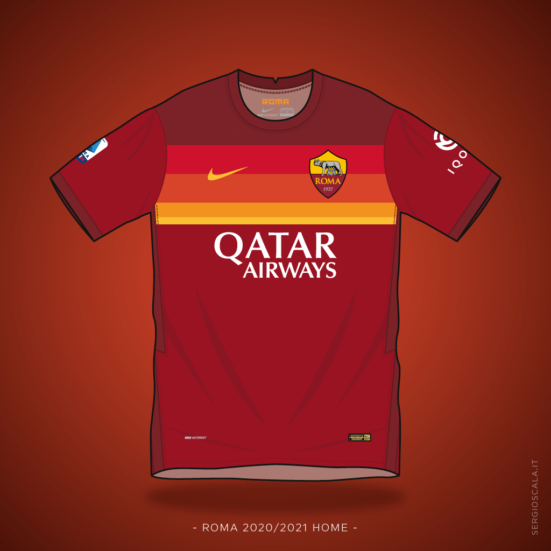 Vector illustration of Roma 2020 2021 home shirt by Nike