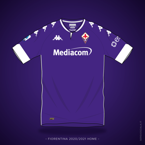 Vector illustration of Fiorentina 2020 2021 home shirt by Kappa