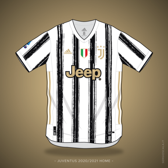 Vector illustration of Juventus 2020 2021 home shirt by Adidas