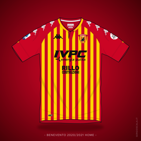 Illustration of Benevento 2020 2021 home shirt by Kappa