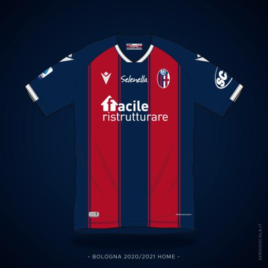 Vector illustration of Bologna 2020 2021 home shirt by Macron