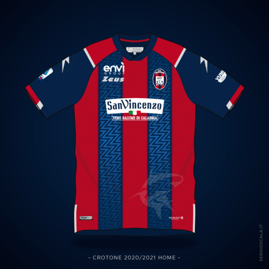 Vector illustration of Crotone 2020 2021 home shirt by Zeus