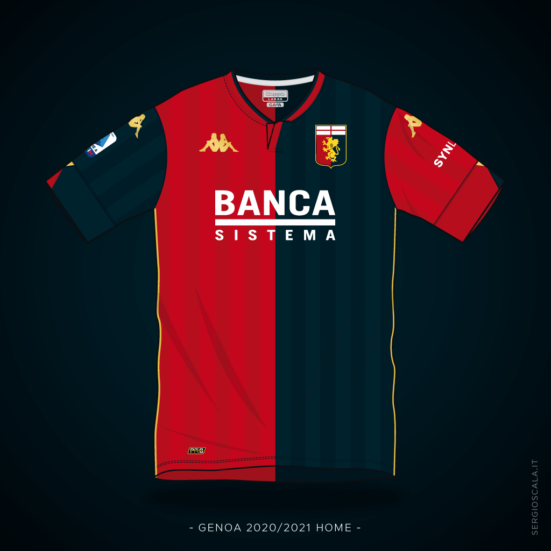 Vector illustration of Genoa 2020 2021 home shirt by Kappa