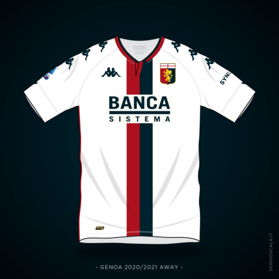 Vector illustration of Genoa 2020 2021 away shirt by Kappa