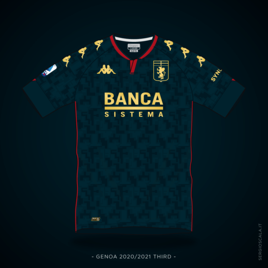 Vector illustration of Genoa 2020 2021 third shirt by Kappa