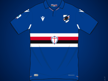Illustration of Macron Sampdoria 2020 2021 home shirt