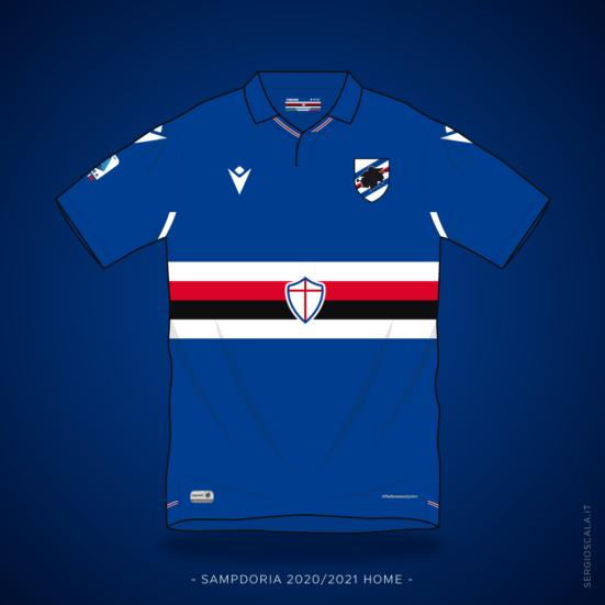 Illustration of Macron Sampdoria 2020 2021 home shirt