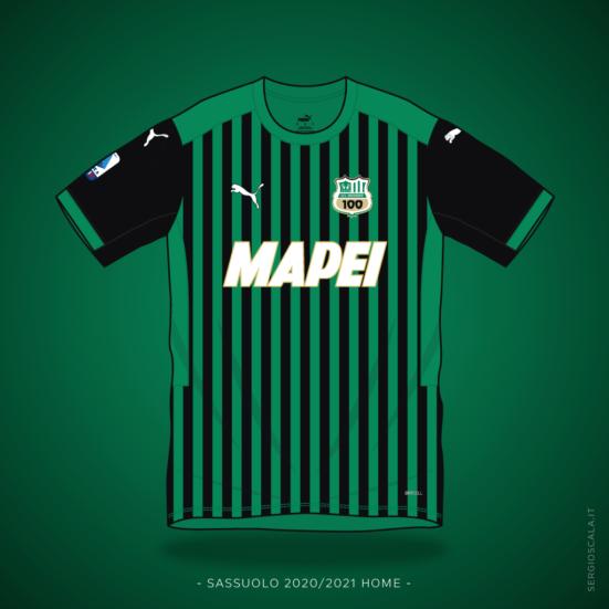 illustration of Sassuolo 2020 2021 home shirt by Puma
