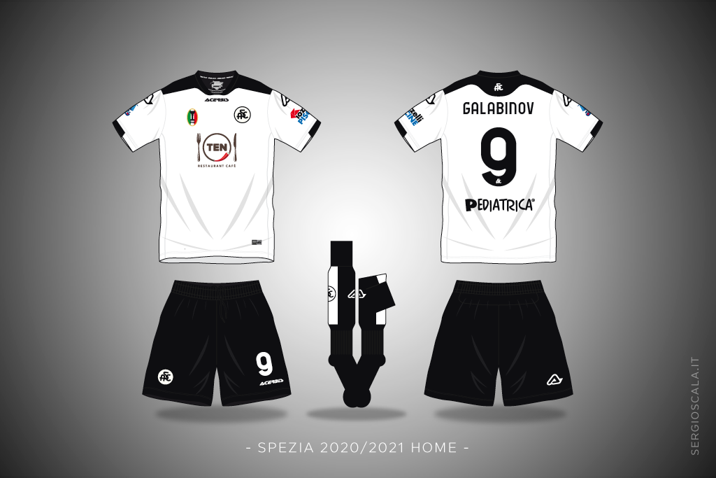 Vector illustration of Spezia 2020 2021 home shirt by Acerbis