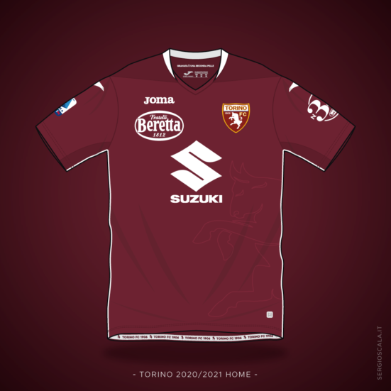 Vector illustration of Torino 2020 2021 home shirt by Joma
