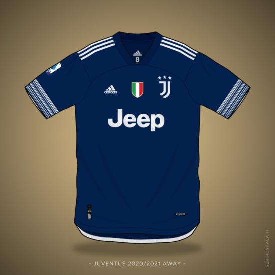 Vector illustration of Juventus 2020 2021 away shirt by Adidas