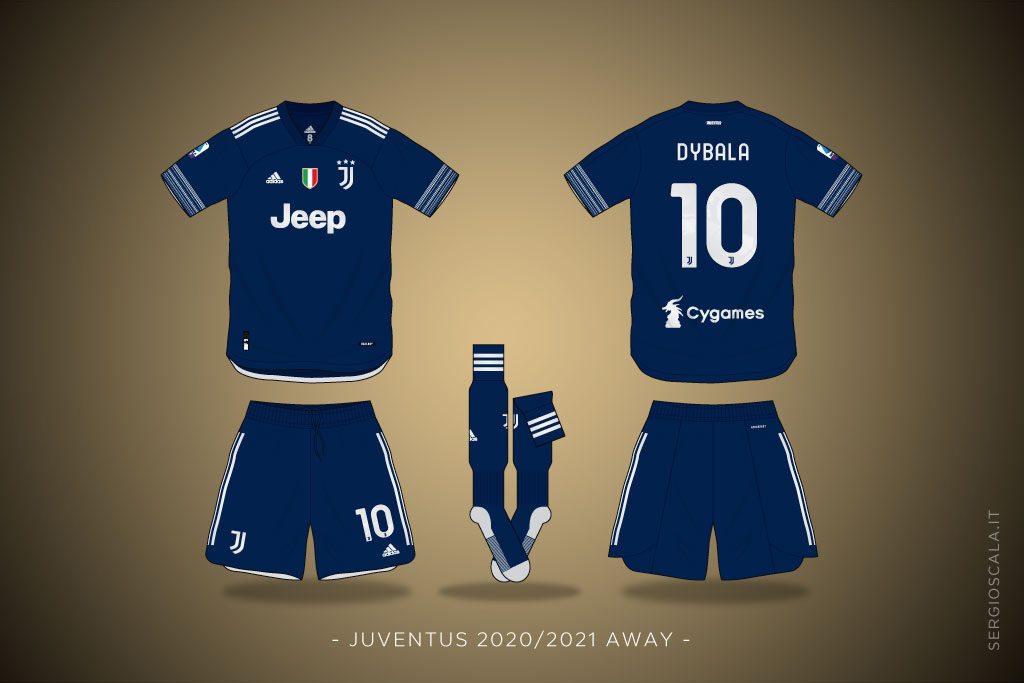Vector illustration of Juventus 2020 2021 away shirt by Adidas