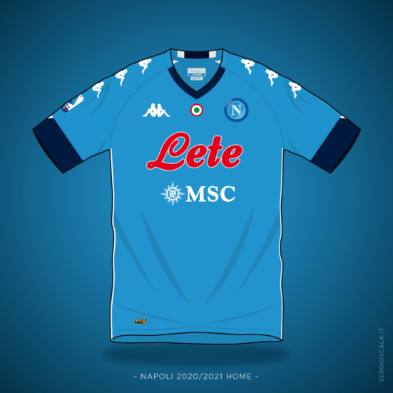 Vector illustration of Napoli 2020 2021 home shirt by Kappa