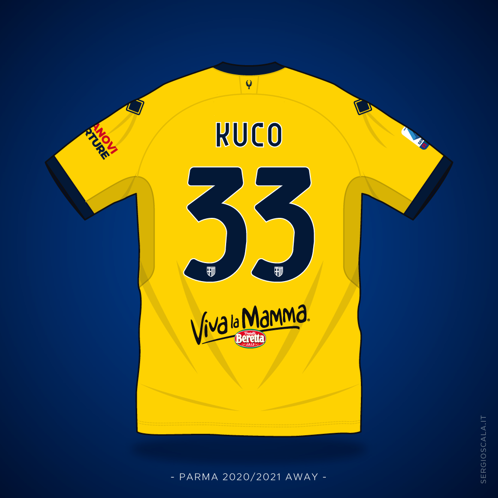 Vector illustration of Parma 2020 2021 away shirt by Errea