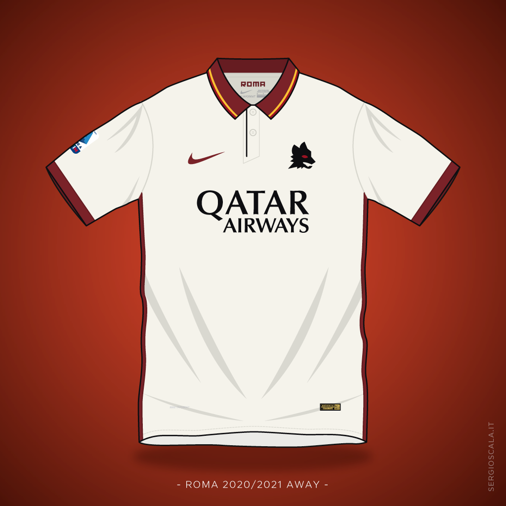 Vector illustration of Roma 2020 2021 away shirt by Nike