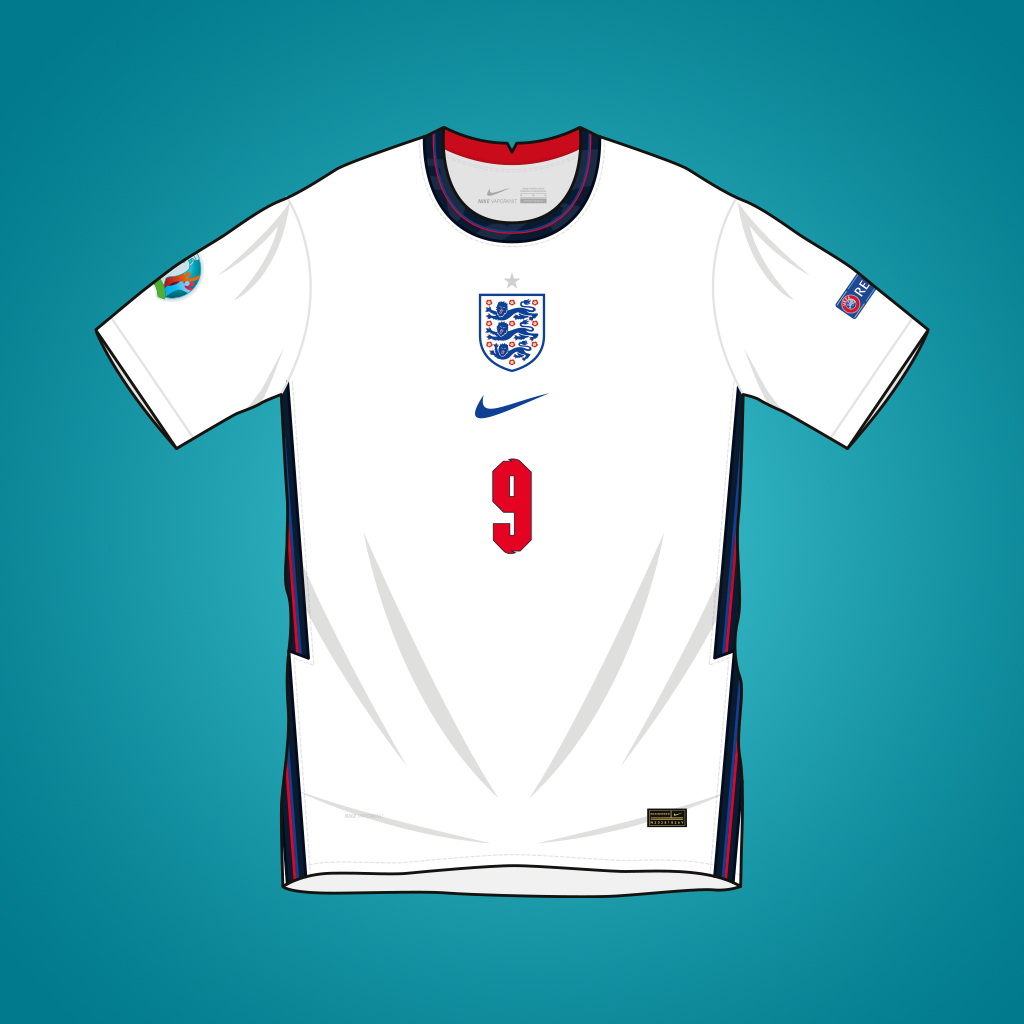 Vector illustration of England 2020 home shirt by Nike