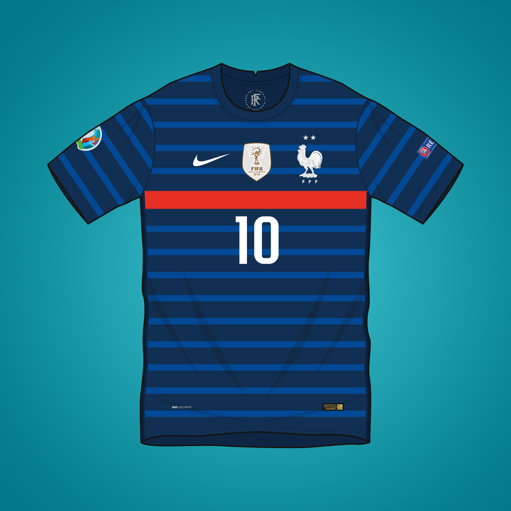 Vector illustration of France 2020 home shirt by Nike