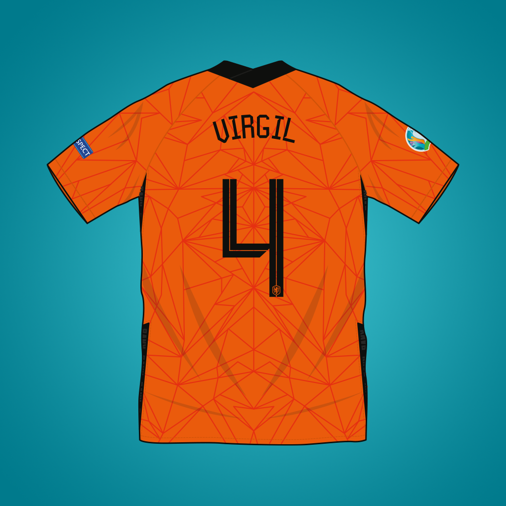 Vector illustration of Netherlands 2020 home shirt by Nike