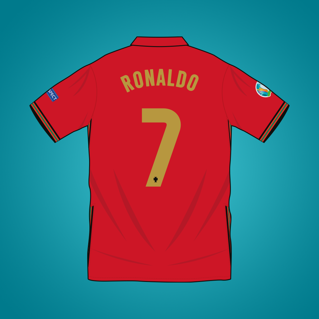 Vector illustration of Portugal 2020 home shirt by Nike